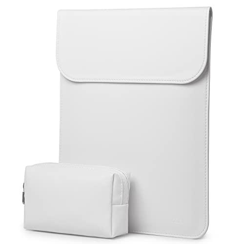HYZUO 13 Pulgadas Funda para Ordenador Portátil Protectora Bolsa Compatible con MacBook Air 13 M1 2018-2021/MacBook Pro 13 M1 2016-2021/Dell XPS 13/Surface Pro X 7 6 5 4 3, Blanco-Piel de Cordero