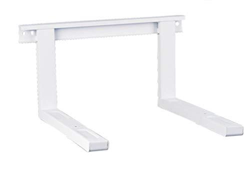 Soporte para microondas, soporte de pared para microondas, color blanco, hasta 35 kg, extensible, 38,5 x 51 cm, incluye material de montaje