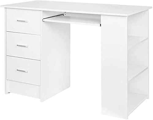 Computertisch Schreibtisch mit 3 Schubladen und Tastaturauszug, Bürotisch PC Tisch Arbeitstisch...
