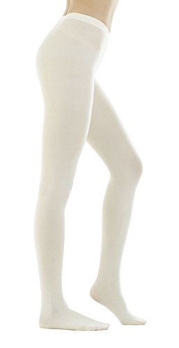STYLEGAGA Women's 80 Denier Semi Opaque Solid Color Footed Pantyhose Tights 2Pair (S/M, Ivory)