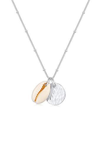 Elli Halskette Damen Plättchen Kugelkette Kauri Muschel in 925 Sterling Silber