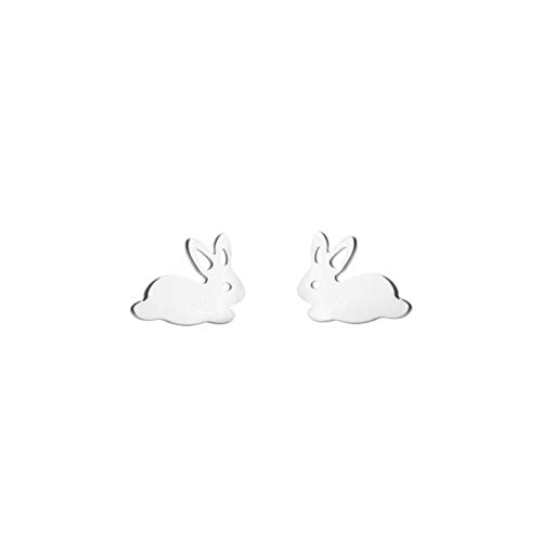 Piccoli orecchini a perno a forma di coniglietto minimalista. e Acciaio inossidabile, cod. UKKY-bunnyearring