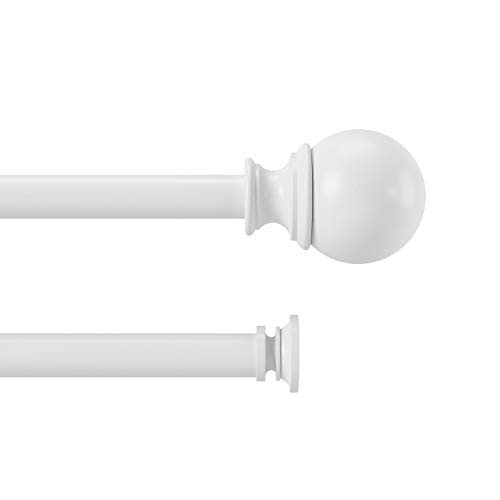 Umbra Diverge Double Curtain Rod for Window Drapery, Adjustable Length, Set Includes Finials and Mounting Hardware, 88 to 120 Inch, White