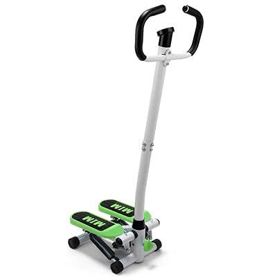 RHSMW Mini Fitness Stepper, Climber Mini Smart Display, Dual Hydraulic Silent, Entrenamiento Aeróbico, Ejercicio Todo El Cuerpo, Hogar,Verde,Ordinary + Handrail