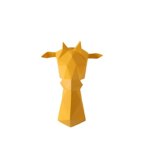 Montaje en pared Simulación Cabeza Pared Colgante Resina Animal Cabeza Tridimensional Sala De Estar Sofá Fondo Pared Decoración Artesanales Regalos Cabeza de Animal (Color : Yellow)