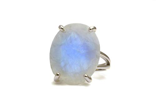Anemone Jewelry Beautiful Rings - Moonstone Ring in 925 Sterling Silver - Oval Rings for Women - Gift for Sister, Mom, Friend, Partner - Jewelry Box Included