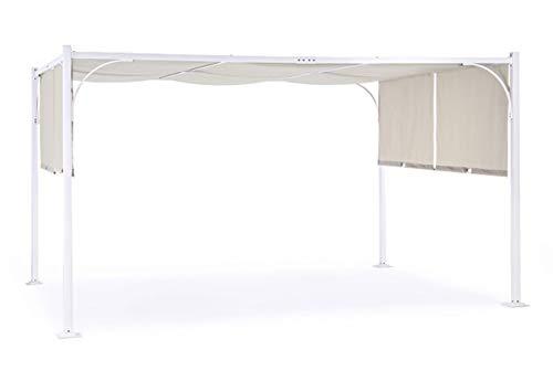 PEGANE Tonnelle Coloris Blanc/Taupe - Dim : L 300 x P 400 x H 250 cm