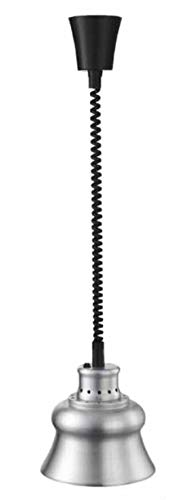 Lacor Lámpara Calentamiento Infrarojos, Mantiene Calientes los Platos, cubetas, con Cable espital Flexible de 30 a 110 cm, Incluye Bombilla, Cocina Profesional, 275W, Aluminio, Lijado, 23x23x35 cm