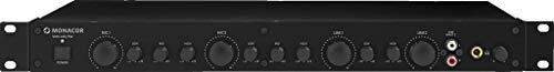 MONACOR VMX-440/SW 4-Kanal Mikrofon Line-Mixer für den Rack-Einbau, Mikro-Verstärker mit 2 Stereo Line-Eingängen und 2 symmetrischen Mikrofon-Eingängen, in Schwarz 202530