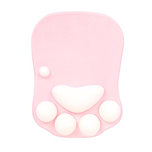 Unovivy Cat Paw Mouse Pad with Soft Silicone Wrist Rest Support Cushion Non Slip Ergonomic Mousepad for Office Computer Gaming Desk Decor (10.7×7.8, Pink)
