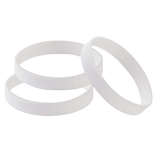 Pulsera de Silicona de 100 Piezas Universal Pulseras de Goma en Blanco Adulto Blanco