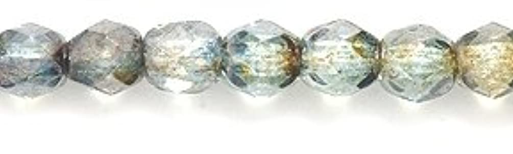 Preciosa Czech 4-mm Fire-Polished Glass Bead, Faceted Round, Crystal/Green Marble , 200/pack