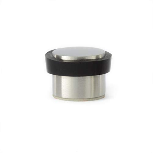 EVI Herrajes I-163 - Tope de puerta adhesivo, acabado mate (acero inoxidable) color negro