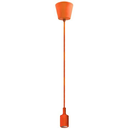 Lampara de Techo Suspension Colgante Portalampara E27 con Cable Coloreado Naranja 155CM Longitud Máxima Ajustable para Comedor Salon Habitacion Niños Oficina de Enuotek