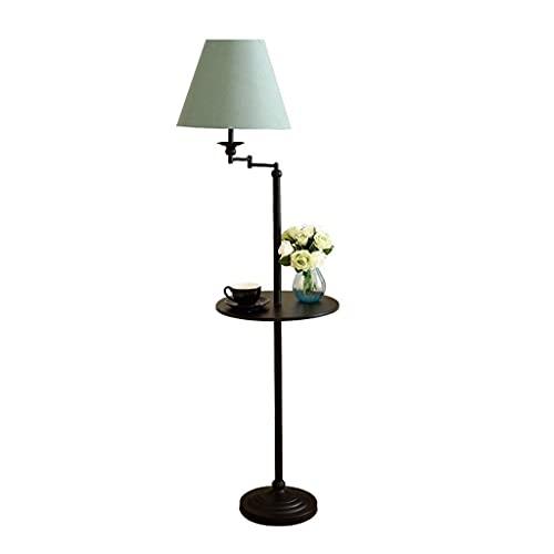 vardagsrum Golvlampa Runt bord Tra Adjustablee Tall Pole wit Grön Fabri Shade Metal för sovrum Kontorsstandardlampa
