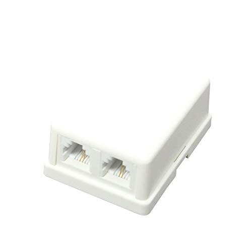Taro's タローズ TARO'S モジュラーローゼット 電話 テレホン 6極2芯 2ポート 2口 2回路 露出 エコ簡易パッケージ CRS11-6P2C2JW