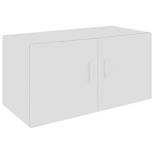 vidaXL Wandschrank mit 2 Türen Hängeschrank Wandregal Bücherregal Badschrank Schrank Aktenschrank Oberschrank Hochglanz-Weiß 80x39x40cm Spanplatte