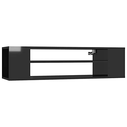 vidaXL Mueble de TV Soporte Mobiliario Aparador Estante Salón Sala de Estar Dormitorio Decoración Colgante Aglomerado Negro Brillante 100x30x26,5 cm