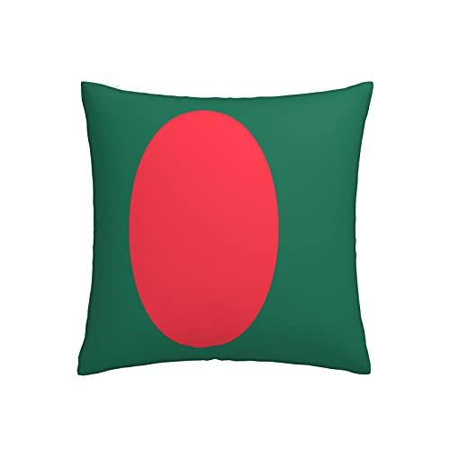 Kissenbezug mit Flagge von Bangladesch, quadratisch, dekorativer Kissenbezug für Sofa, Couch, Zuhause, Schlafzimmer, für drinnen & draußen, 45,7 x 45,7 cm