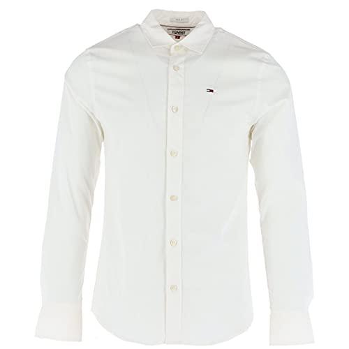 Tommy Jeans Original Stretch Camicia Slim Fit, Bianco (Classic White 100), L Uomo