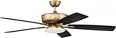 """Craftmade P112SB5-52BWNFB Pro Plus 52"""" Ceiling Fan with LED Lights & Hard-wire, Satin Brass"""