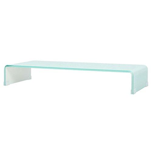 vidaXL 244146 TV glazen opzetstuk tafel monitor verhoging glazen podium wit 90x30x13 cm, glas, One size