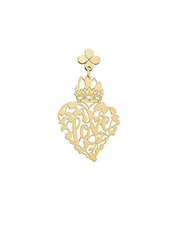 Lebole Gioielli Colección Middle Ages Corazón Mini perforado Pendiente individual para mujer de plata