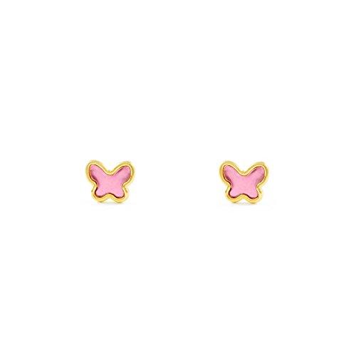 Pendientes Oro Bebe o Niña Mariposa esmalte rosa