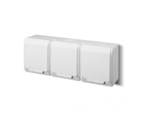 Naka24 IP55 opbouw schakelaar\stopcontactprogramma vochtige ruimtes Schuko Hermes AQUANT (IP44 stopcontact met afdekking 0326-02), wit