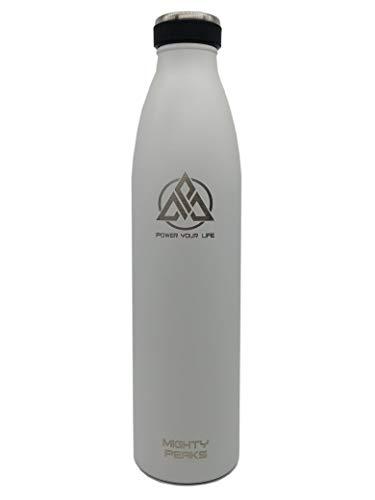 MIGHTY PEAKS Edelstahl Trinkflasche 1l - Weiß, White - Thermosflasche, Isolierte Wasserflasche, BPA-Frei, Auslaufsichere Isolierflasche doppelwandig, Kohlensäure und Sprudel geeignet