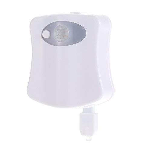 Ritioner Lámpara LED para Inodoro, 8 Colores 4.5V 0.1W LED WC Luz, Luz Baño con Sensor de Movimiento para Inodoro o Cuarto de Baño, Bateria Cargada, de Pilas, 7 * 6.7 * 2cm