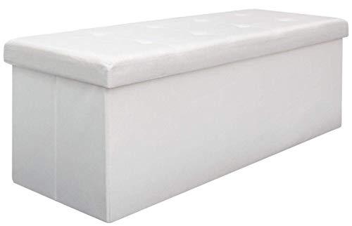 DuneDesign Otomana XXL Banca Plegable 110x38x38cm Incl 2 Paredes divisorias 120L pie de Cama Rectangular sofá Forrado con Tela 3 plazas Blanco