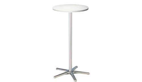 Maul Stehtisch 9323102, Höhe 110 cm, Aluminium Standfuß, runde Tischplatte aus Holz,  Ø 60 cm, weiß
