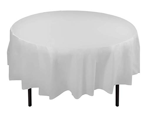 12-Pack Premium Plastic Tablecloth 84in. Round Table Cover - White