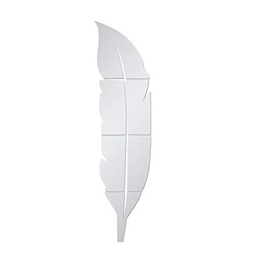 AILANDA 1 Set DIY 3D Acrílico Espejo Decorativo Mirror Wall Stickers Forma de Pluma Espejo Pegatinas de Pared Acrílico para La Sala de Estar Dormitorio Oficina Decoracion del Hogar (Plata)