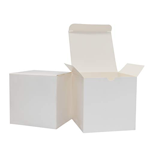 Xxcxpark 48 PCS White Kraft Gift Boxes 4x4x4 in, Decorative Party Favor Kraft Paper Gift Packaging Box with Lid for DIY Crafting, Cube, Cupcake, Kraft Present Boxes for Birthday, Wedding, Anniversary