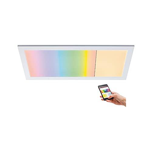 Paulmann 79808 LED Panel Amaris 595x295mm RGBW Smart Home Zigbee eckig incl. 1x22 Watt dimmbar Deckenleuchte Weiß matt Deckenlampe Metall Wohnzimmerlampe 2700 K