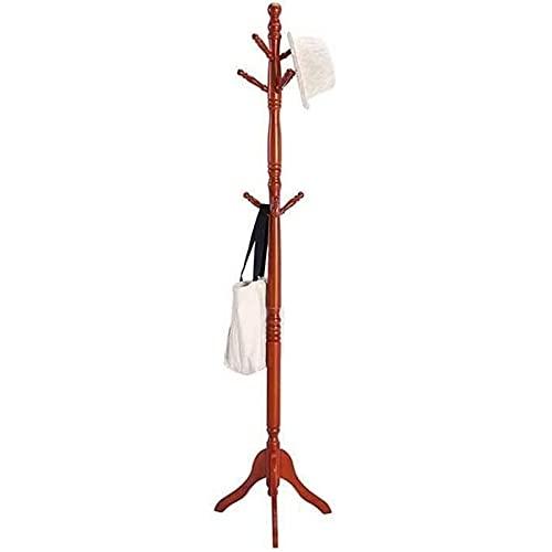 Perchero con Estante de Madera Maciza Simple Moderno de la Esquina de la Esquina Sala de Estar Sala de Estar Soporte Duradero (Color : Wine Red)