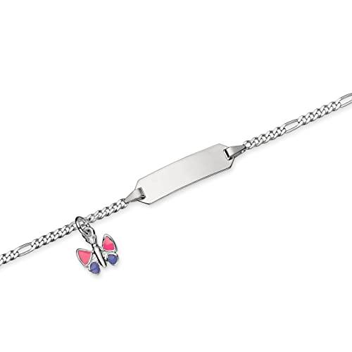 Pulsera con placa de identificación grabada para bebé, niños, niñas y niños, con cadena Figaro con ojal intermedio como colgante, mariposa lacada en rosa y lila, cierre de plata 925/-