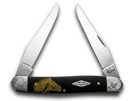 CASE XX Wild Mustang Black Delrin Scrolled Bolster 1/500 Muskrat Pocket Knife Knives