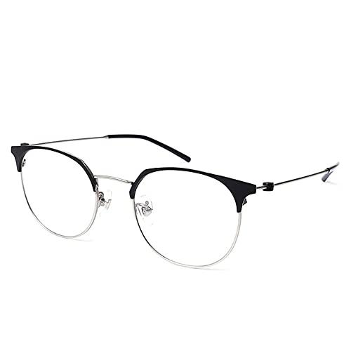 CAOXN Gafas De Lectura con Bloqueo De Luz Anti-Azul De Titanio Puro Ultraligero, Lentes De Resina De Alta Definición Lentes Presbicia Hipermetropía Óptica,Negro,+1.00