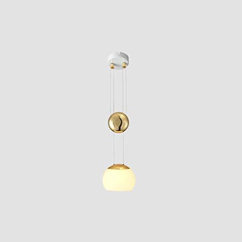 Hanglamp metaal glazen bol hanglamp slaapkamer woonkamer, hal, restaurant, bar (driekleurig licht, dimbaar), goudkleurig
