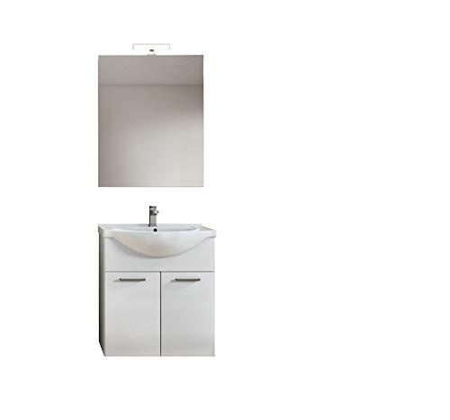 MaMa Store SARA 75 Mobile sospeso / a Terra con 2 Ante, lavabo e Lampada, L. 75 cm x P. 50 cm x H. 79 cm, Bianco Lucido Laccato, MDF