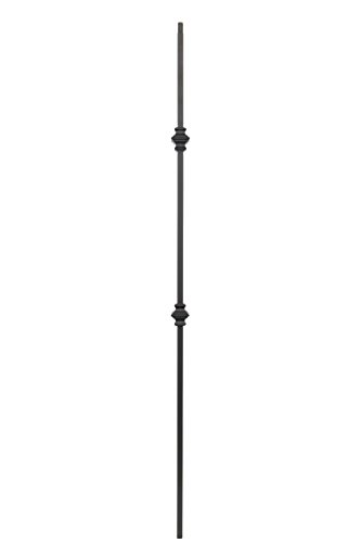 T61 - Iron Balusters - Double Knuckle - Hollow - 44 in X 1/2 in Square - Box of 10 (Satin Black)