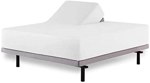 Split Head Mattress Protector King - Adjustable Split-King Size, 100% Terry Cotton Surface - Split Head Mattress Protector - Split Down 34 inches from The top (White Solid)