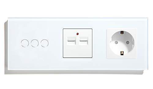 BSEED 3 Fach 1-Wege-WLAN-Touch-Lichtschalter (Arbeit mit Alexa Tuya Alexa) und EU-Buchse (NO WIFI) mit 3.1 A USB-Ladeleistung Weiß
