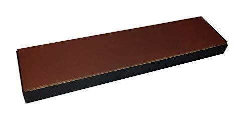 scherenkauf XXL Lederabziehriemen, Abziehleder 30cm x 7cm (Leder Natur, XXL mit rotem Eisenoxid behandelt, Kautschuk-Unterlage)