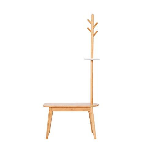 LUAN Perchero Moderna Soporte de la Capa Simple, 2 en 1 de bambú Escudo Escudo Perchero Soporte de Almacenamiento en Rack Whith 4 Ganchos de Colgar y 1 Bastidores Perchero de (Color : Primary Color)