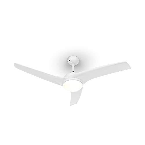 """Klarstein Figo Deckenventilator - 2-in-1: Ventilator & Deckenlampe (2 x 42 W), Durchmesser: 52\"""" (132 cm), 3 Flügel, Luftdurchsatz: 10.039 m³/h, 2 Laufrichtungen, 3 Geschwindigkeitsstufen, weiß"""