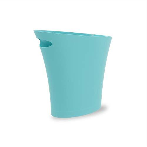 Umbra Skinny Polypropylene Waste Can, 2 Gallon (7.5L), Surf Blue
